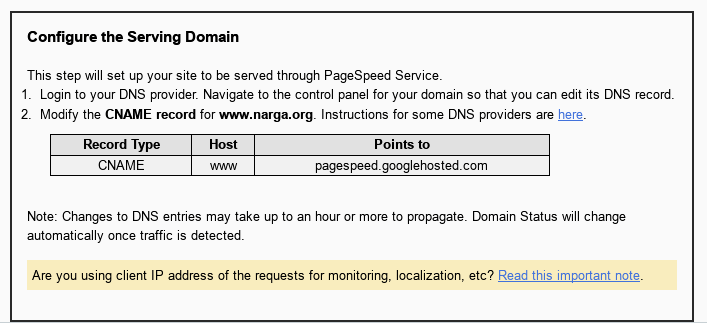 PageSpeed Config the serving domain