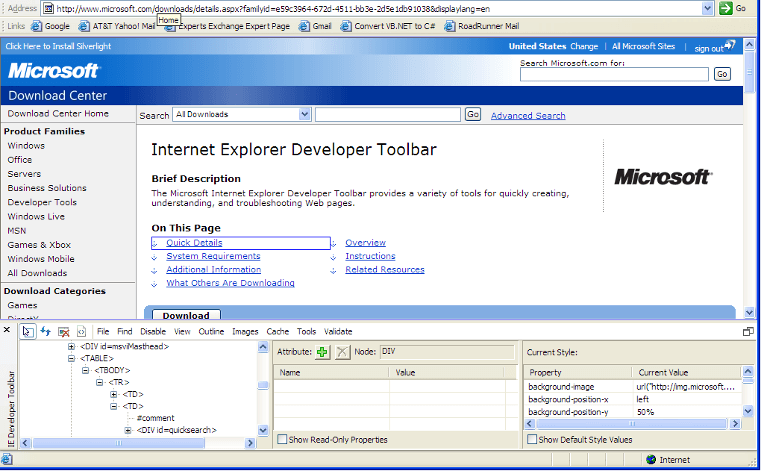 Internet Explorer Developer Toolbar