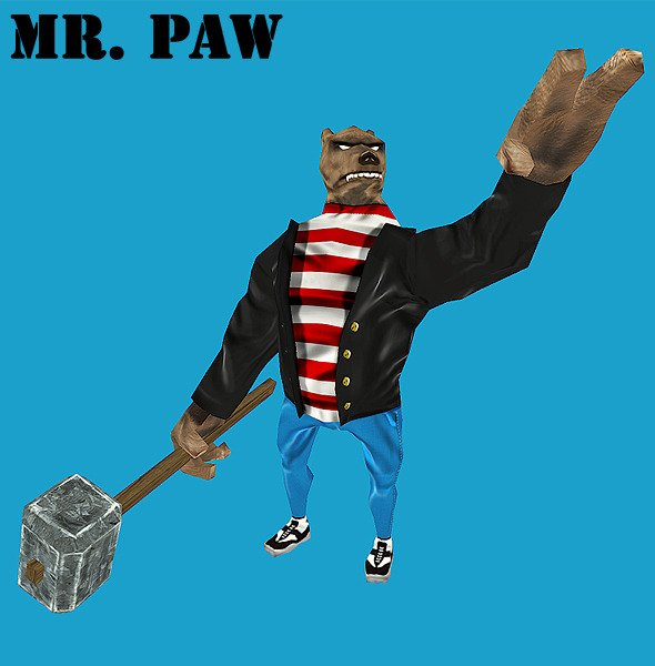 Mr Paw Low Poly Animated Game Character - 3docean free files