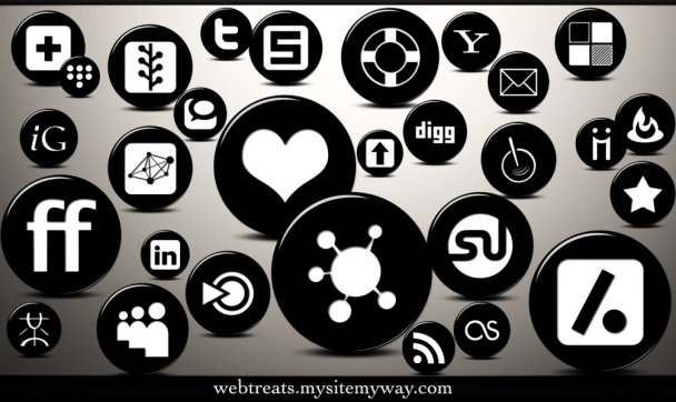 3D Glossy Black Button Social Networking Icons