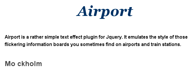 Airport Jquery Plugin