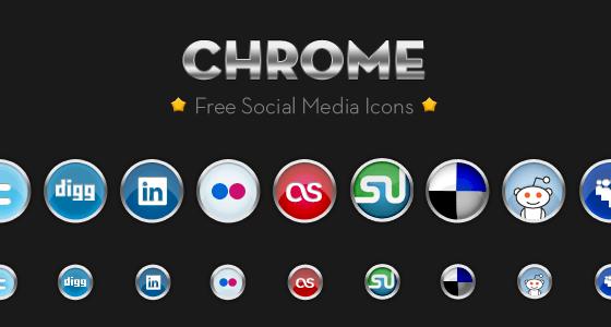 Chrome Social Media Icon Set