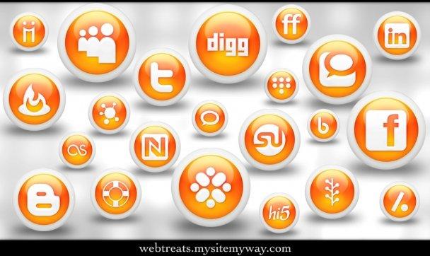 Glossy Orange Orb Social Media Icons