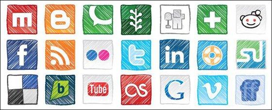 Grungy Social Icon Set