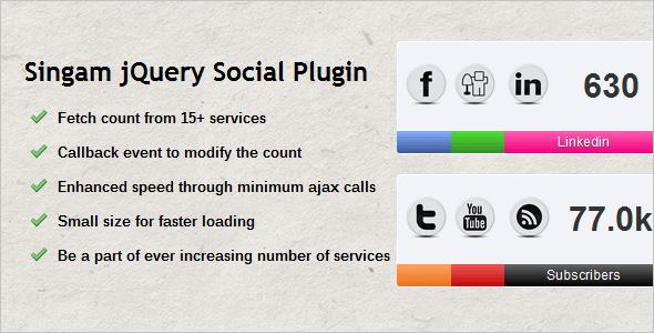 Singam jQuery Social Count Plugin