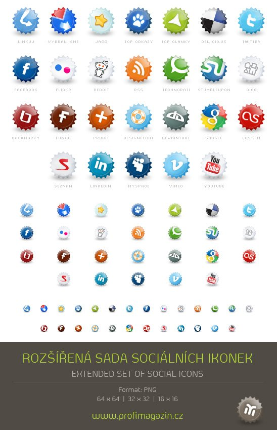Round Social Bookmark Icons 1