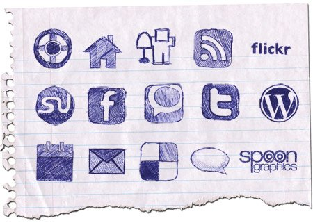 Hand Drawn Doodle Icon Set for Bloggers