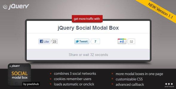 jQuery Social Modal Box
