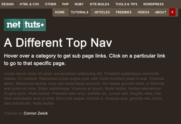 A Different Top Navigation Menu