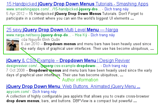 Author Information in Google Search Results