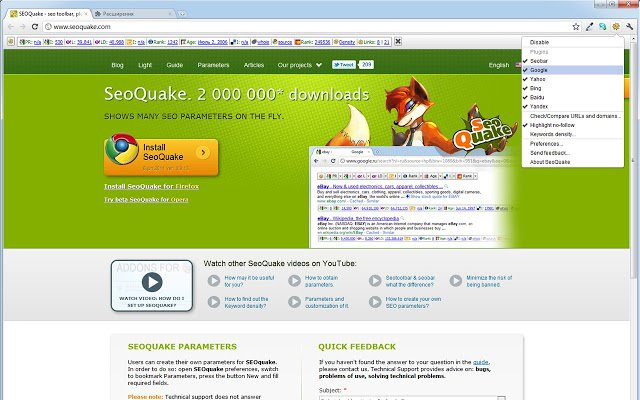 SEOquake is a SEO extension (toolbar) for Google Chrome