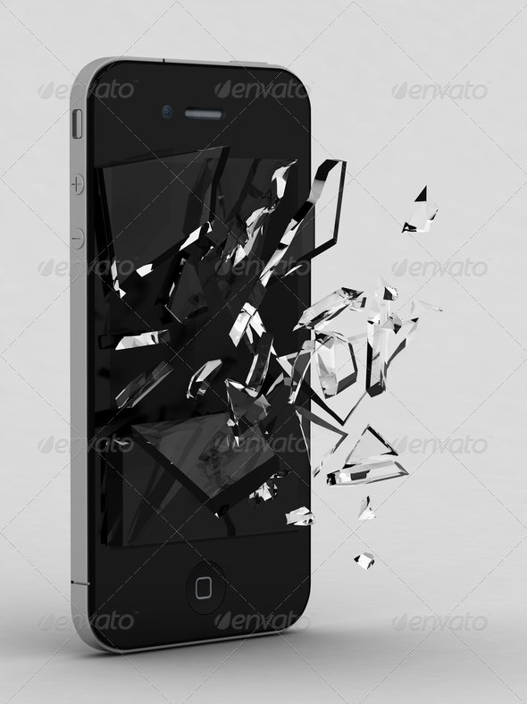 Smartphone with Broken Glass