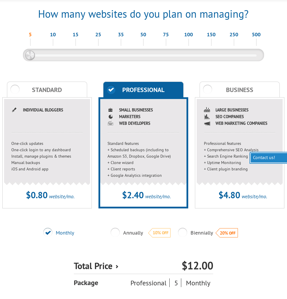ManageWP Plans & Pricing
