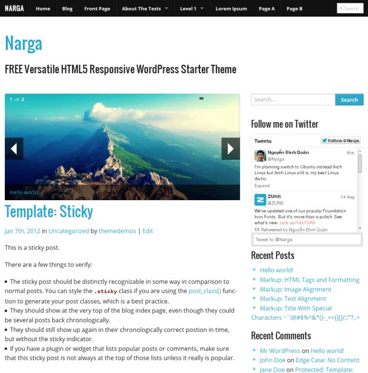 NARGA - FREE Versatile HTML5 Responsive WordPress Starter Theme