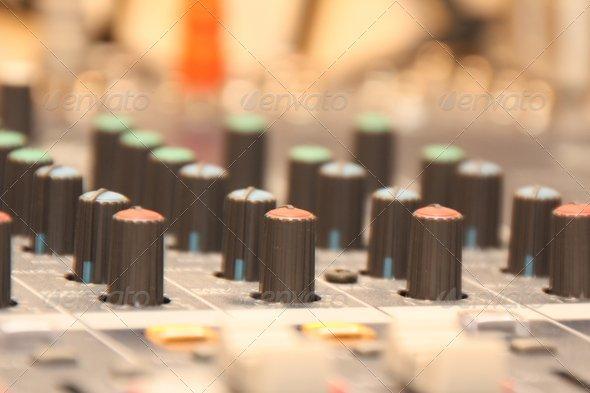 Audio Mixing Desk Knobs & Controls