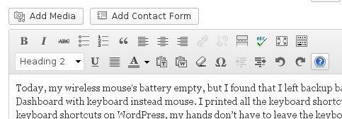 Visual Editor Shortcuts