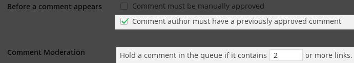 Comment author must have a previously approved comment