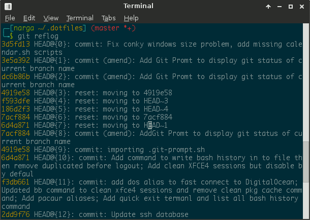 Git reflog is to manage the information recorded in git