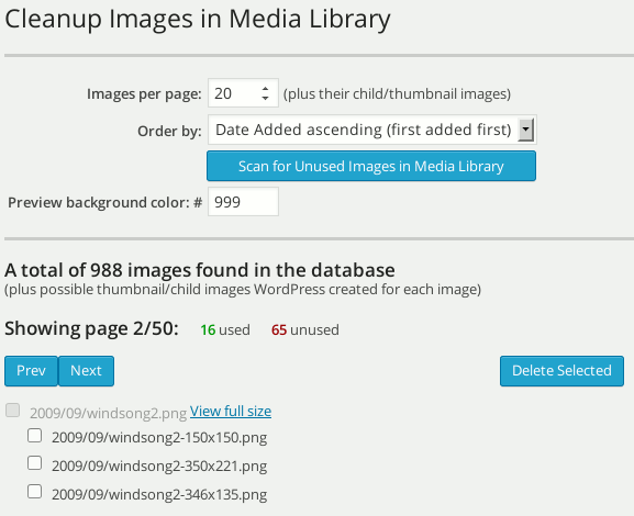 Cleanup Images in Media Library