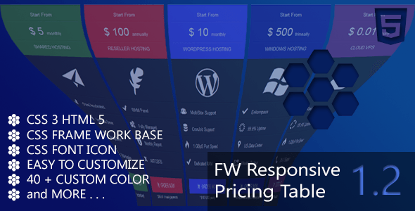 FW Responsive Pricing Table