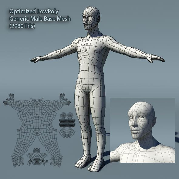 Optimized Low Poly Male Human Base Mesh