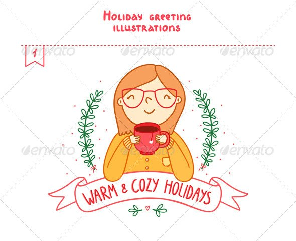 Holiday Greetings Illustrations