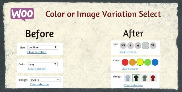 How to display woocommerce variations with color / size buttons?