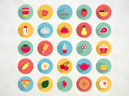 50 Flat Food and Drink Icons
