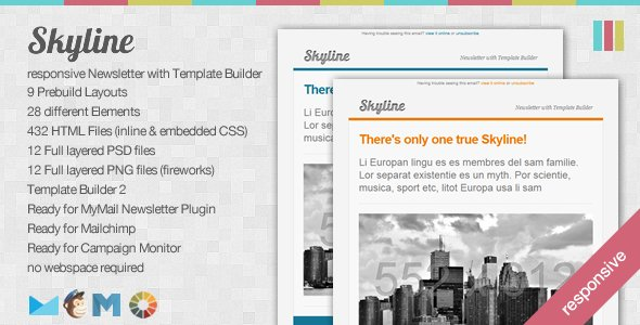 Skyline - Responsive Newsletter with Template Builder