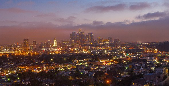 Sunset Over Los Angeles from Day to Night