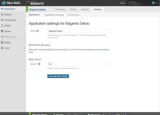 NewRelic Application Setting