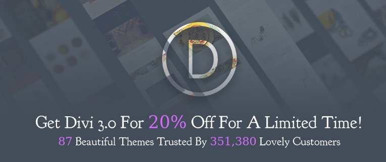 Get 20 OFF In Celebration Of Divi 3.0
