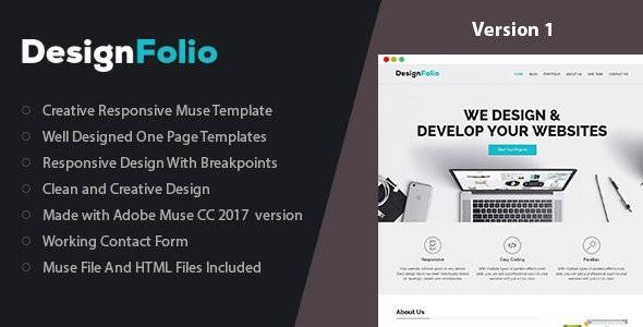 designFolio - Responsive One Page Muse Template
