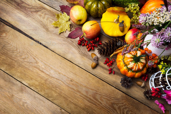 Thanksgiving arrangement with pumpkin and vegetables, copy space