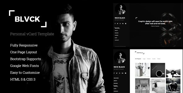 Blvck - Personal vCard & Resume Template