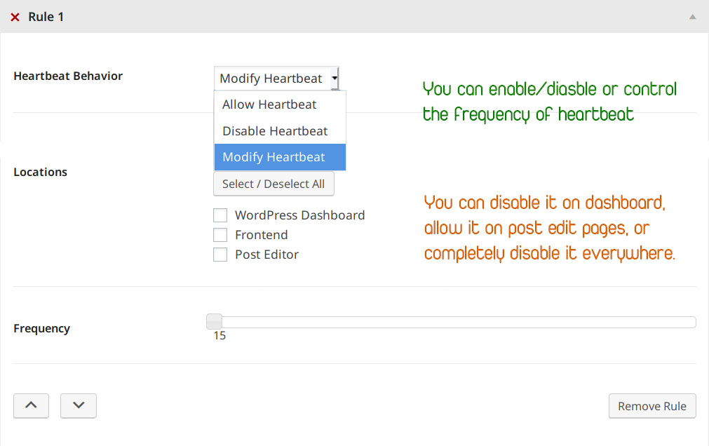 Controlling the WordPress Heartbeat API with plugin