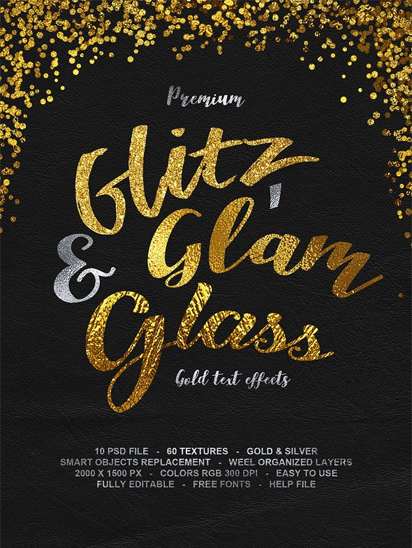 Glitz, Glam & Glass Gold Text Effects
