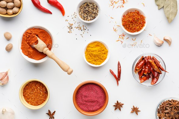 Hot spices concept, top view