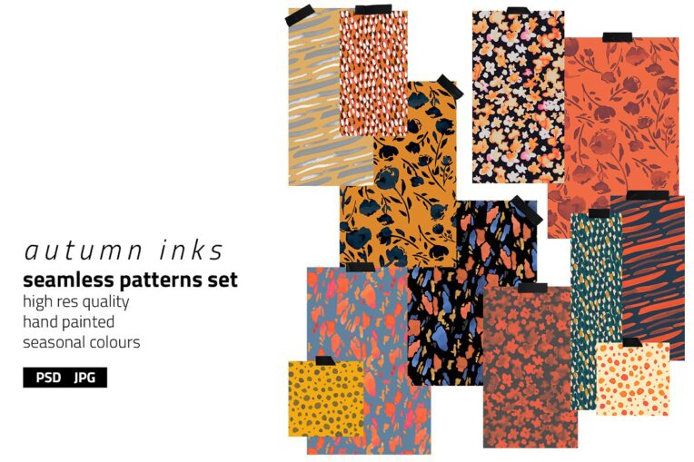 Autumn Inks Pattern Set