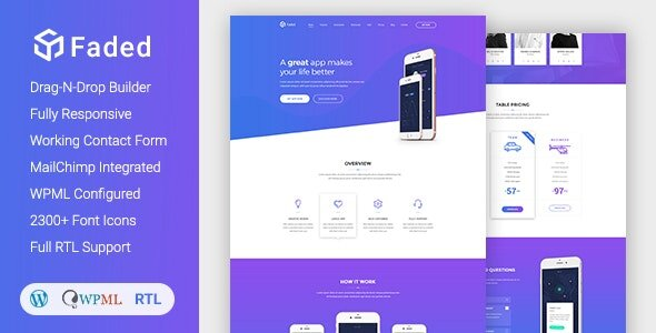 Faded - Responsive App Landing Page WordPress Theme