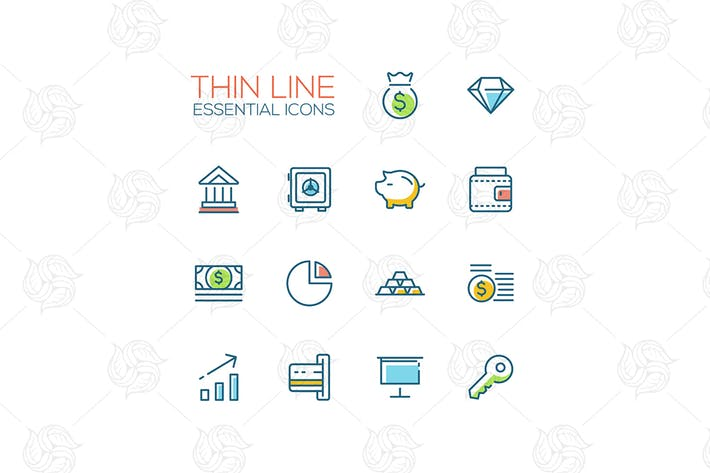 Thin lines essential icons