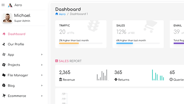 Aero - Bootstrap Admin Template with Laravel & Angular