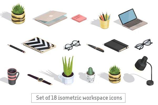Set of 18 isometric icons