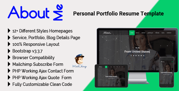 AboutMe - Personal Portfolio Resume Template