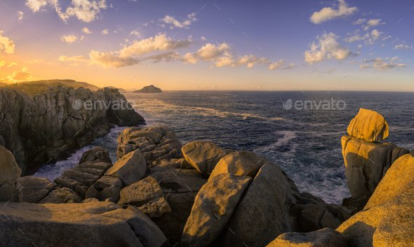 Sea Cliffs Gilted by the Light of the Setting Sun