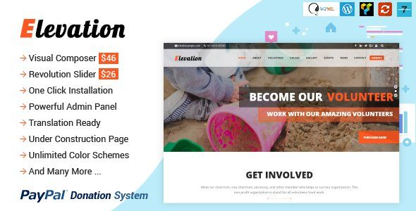 ELEVATION - Charity Nonprofit Fundraising WP Theme